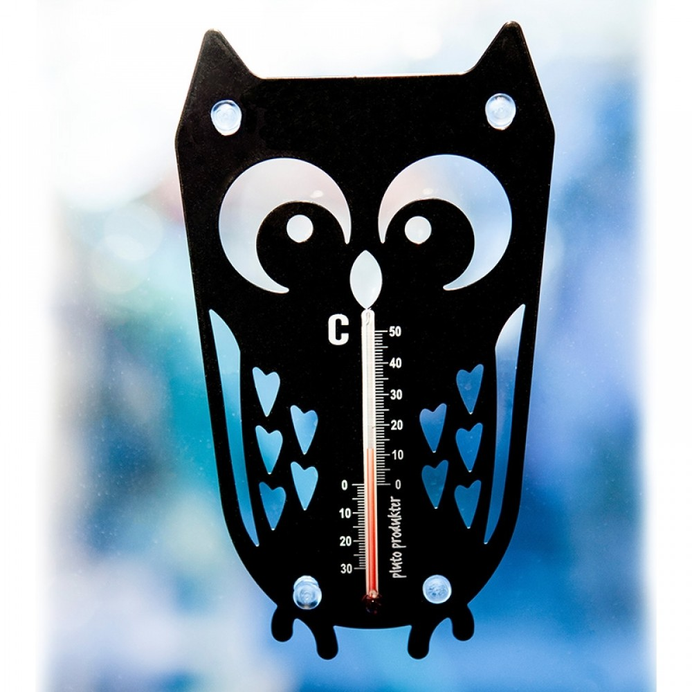 Pluto termometer m/sugekop - Sort Ugle