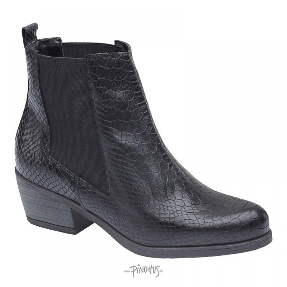 Angelina croco skind støvle - sort