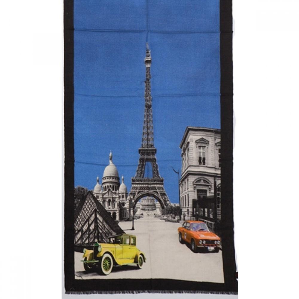 Tørklæde uld/cashmere Paris blå-32