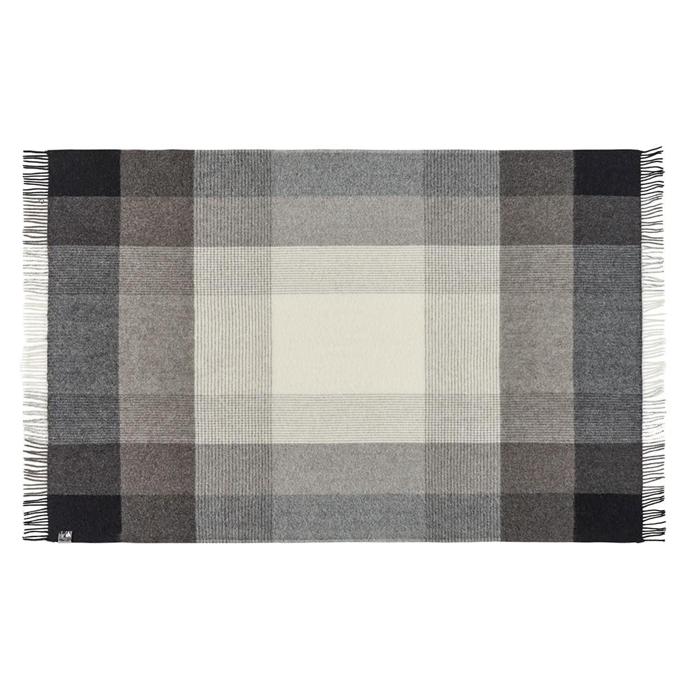 Uld Plaid Oxford - Dark grey140x240cm