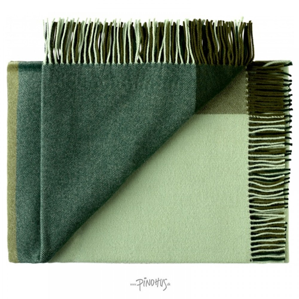 Merino uld plaid - Mix farve grøn