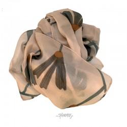 Aperitif silke tørklæde Peach/grey flower-20