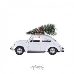 Hvid Folkevogn m/ juletræ-20