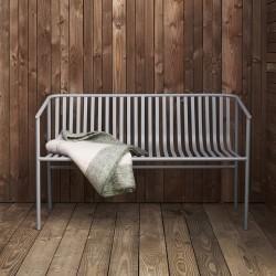 Hübsch grå metal havebænk-20