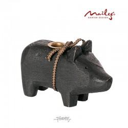 Maileg Træ gris til kertelys sort-20