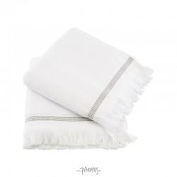 Meraki Øko. håndklæde hvid m/strib 50x100cm-20