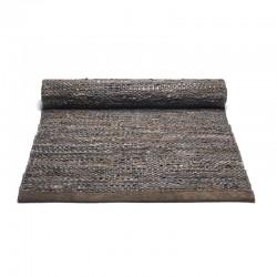 Rug Solid læder gulvtæppe Brun-20