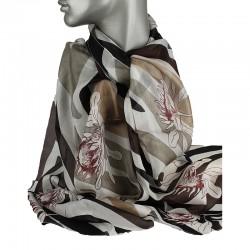 Aperitif silke tørklæde Beige/sort flower-20