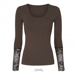 Tim and Simonsen Bluse m/ blonde ærme Coffee-20