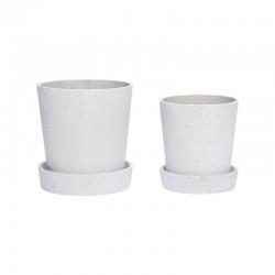 Urtepotte m/underskål beton-20
