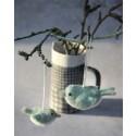 Én gry & Sif - Oph. 2 filt fugle - støvet grøn