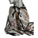 Aperitif silke tørklæde - Beige/sort flower