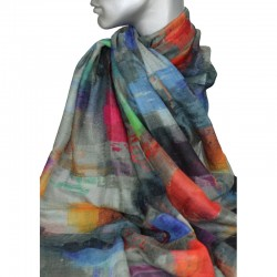 Aperitif tørklæde - Uld/silke multi col.