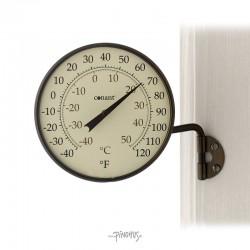 Udendørs alu bronze termometer - Rundt