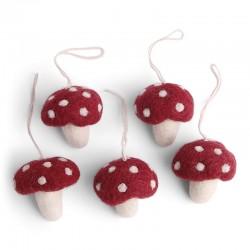 Én Gry & Sif - 5 stk røde svampe