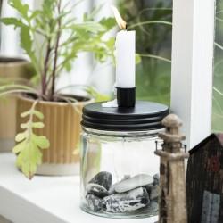 Ib laursen - Glasstage til bedelys m/ sort låg