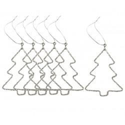 Ophæng 6 stk. juletræ m/glimmer