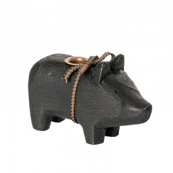 Maileg - Træ gris til kertelys - sort
