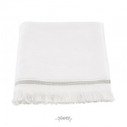 Meraki - Øko. håndklæde hvid m/strib 70x140cm