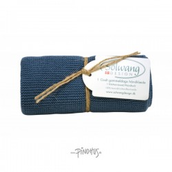 Solwang strikket håndklæde - Rustic blå