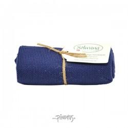 Solwang strikket håndklæde - Mørk blå