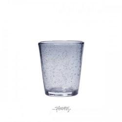 Vandglas grå-blå m/bobler