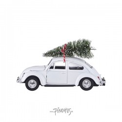 Hvid Folkevogn m/ juletræ