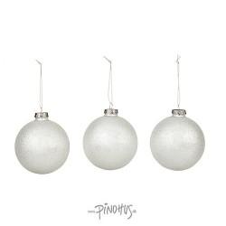 Julekugle i æske 3 stk. hvid