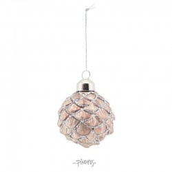 Ornament - Kogle m/glimmer 6cm