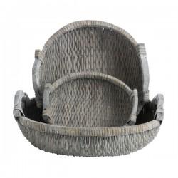 Kurv m/håndtag - grå vask