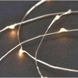 Lyskæde m/batteri - 80 lys sølv