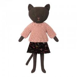 Maileg - Mørk kat m/ rosa strik
