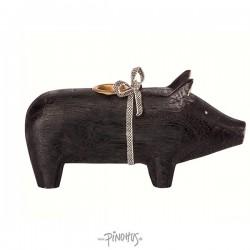 Maileg - Træ gris til lys - Sort