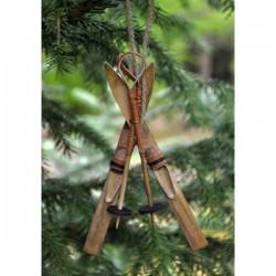 Ornament - Ski/skistav i træ