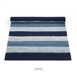 Kludetæppe bomuld - Hvid/blå strib