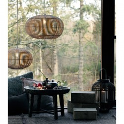 Rund Bambuslampeskærm - natur 48cm