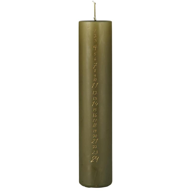 Ib Laursen - Kalenderlys oliven m/ guld tal